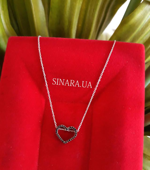 Серебряная цепочка с кулоном Сердце Серебряное колье картинка 4