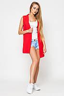 Жилет женский Зарина красный, Leo Pride, удлиненный жилет, классический жилет