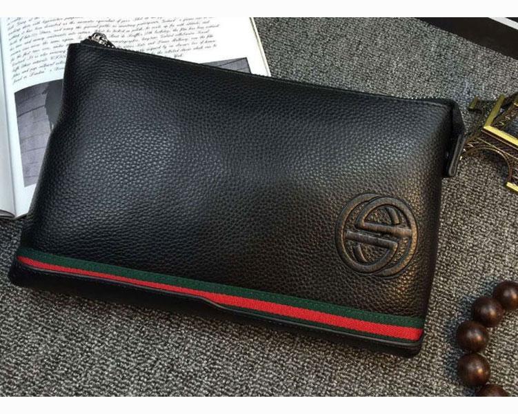6362952d5fe1 Мужской кожаный клатч Gucci (1265) black SR-732, цена 996 грн ...