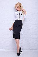 Женская юбка-карандаш черного цвета с посадкой на талии, дополненная плиссировкой понизу