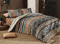 Комплект постельного белья двуспальный-евро Majoli Bahar teksil Adriana v2 Kahve B08