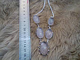Колье розовый кварц красивое ожерелье с камнем розовый кварц в серебре Индия, фото 6