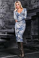 Женское платье с цветочным принтом, вязаный трикотаж, серый/синий принт, размер 46