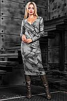 Женское платье с цветочным принтом, вязаный трикотаж, серый/чёрный принт, размер 44-50