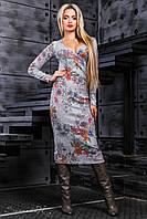 Женское платье с цветочным принтом, вязаный трикотаж, серый/цветной принт, размер 44-50