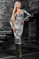 Женское платье с цветочным принтом, вязаный трикотаж, серое, размер 44-50