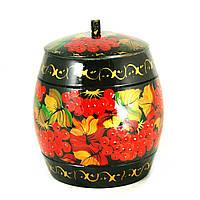 Емкость для сыпучих деревянная Петриковская стилизация ручной работы ручная роспись Калина тем. 9893