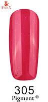 Гель лак FOX №305 (розово-красный с розовым глитером) 6 мл