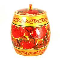 Емкость для сыпучих деревянная Петриковская стилизация ручной работы ручная роспись Калина све. 9894