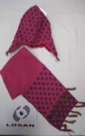 Детский Комплект: шапка, шарф для девочки 6 месяцев