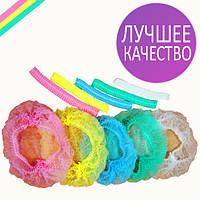 Одноразовые шапочки шарлотки на двойной резинке Polix 100 шт розовые