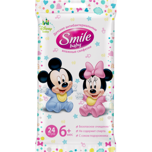 Влажные салфетки Smile Baby Antibacterial, 24 шт.