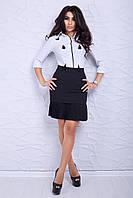 Женская юбка черного цвета с посадкой на талии, дополненная плиссировкой понизу