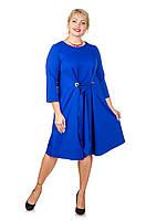 Стильное платье большой размер Карла электрик (52-62)