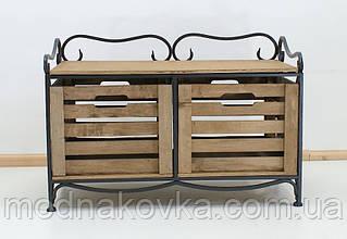 Этажерка кованая (полка металлическая) на 2 ящика горизонтальная