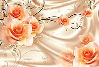 """3Д Фотообои с цветами """"Оранжевые розы"""""""