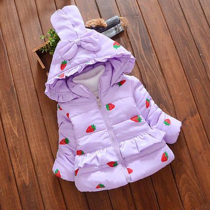 Куртка зимняя детская трапеция в клубничках, фото 2