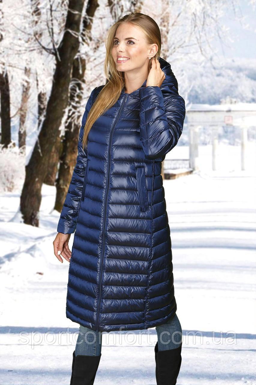 Женское пальто(пуховик) синий