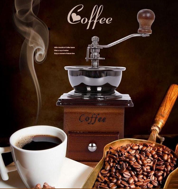 Классическая, ручная деревянная кофемолка, подчеркнет ваш незабываемый стиль на кухне,доставка из Ки