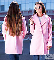 Женское пальто из кашемира (розовый)