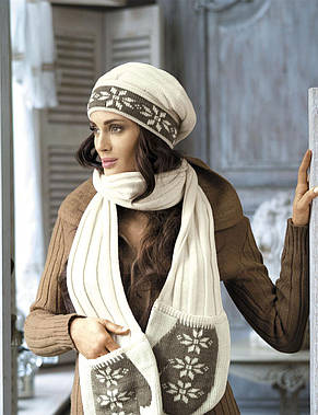 Теплый зимний комплект (шапка+шарф с варежками) от Kamea - Luba, фото 2