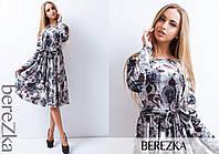 Платье модное с пышной юбкой миди мраморный велюр в цветочный принт SMs1779