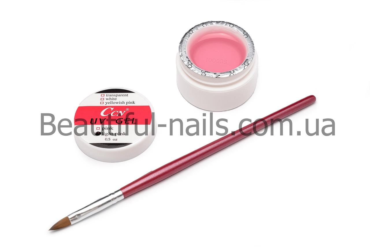 УФ гель для наращивания ногтей CCN прозрачно-розовый (light-pink) 15 ml(0.5 oz)
