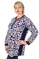 Стильная туника-рубашка большой размер Луки розовые цветы (52-66)