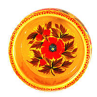 Конфетница деревянная Петриковская стилизация ручная роспись Мак 210мм высокая светлая 9899