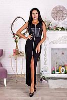 Облегающее черное платье на молнии