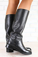 Зимние и демисезонные сапоги женские кожаные на низком ходу, черного цвета