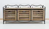 Этажерка кованая (полка металлическая) на 3 ящика горизонтальная