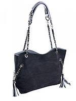 Замшевая женская сумка тоут черного цвета A-49