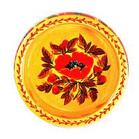 Конфетница деревянная Петриковская стилизация ручная роспись Мак 210мм низкая светлая 9905