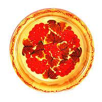 Конфетница деревянная Петриковская стилизация ручная роспись Калина 210мм низкая светлая 9906