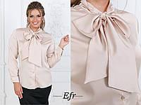 Женская шелковая блуза с бантом рукава длинные