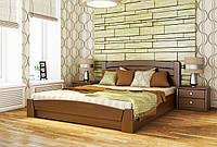 Кровать двуспальная Селена-Аури с подъемным механизмом тм Эстелла Массив бука, 120х190/200, №101 Тёмный орех