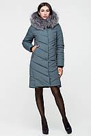 Зимняя куртка оттенка аспарагус натуральная опушка