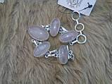 Браслет с камнем розовый кварц в серебре. Браслет с розовым кварцем, фото 2