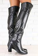 Сапоги ботфорты кожаные черные на маленьком удобном каблуке, евро зима