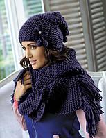 Красивый комплект шапка и шарф крупной вязки от Kamea - Cherry.