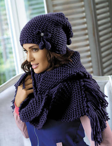 Красивая шапка крупной вязки с вишенками от Kamea - Cherry., фото 2