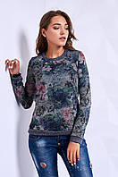 Кофта свитшот женская с цветочным принтом p.42-46 S1400