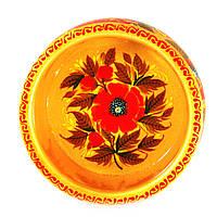 Конфетница деревянная Петриковская стилизация ручная роспись Мак 190мм высокая светлая 9911