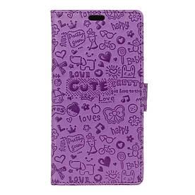 Чехол книжка для ZTE Blade A610 боковой с отсеком для визиток, Мультяшки, фиолетовый