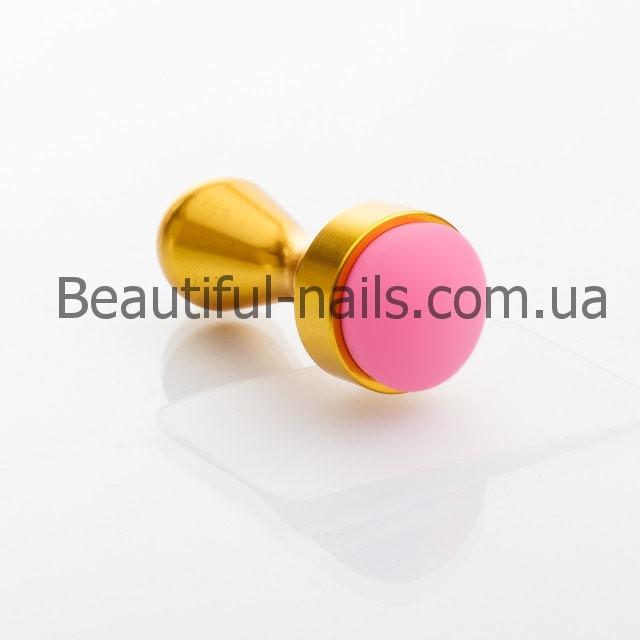 Штамп для стемпинга с металлической рукояткой серебро и золото
