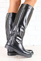 Женские демисезонные сапоги, на байке, черные, кожаные, низкий ход