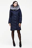 Зимняя куртка темно синяя с натуральной опушкой