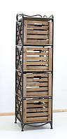 Этажерка кованая (полка металлическая) на 4 ящика вертикальная
