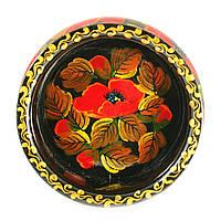 Конфетница деревянная Петриковская стилизация ручная роспись Мак 190мм низкая темная 9914